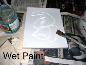 Drizzled white paint.