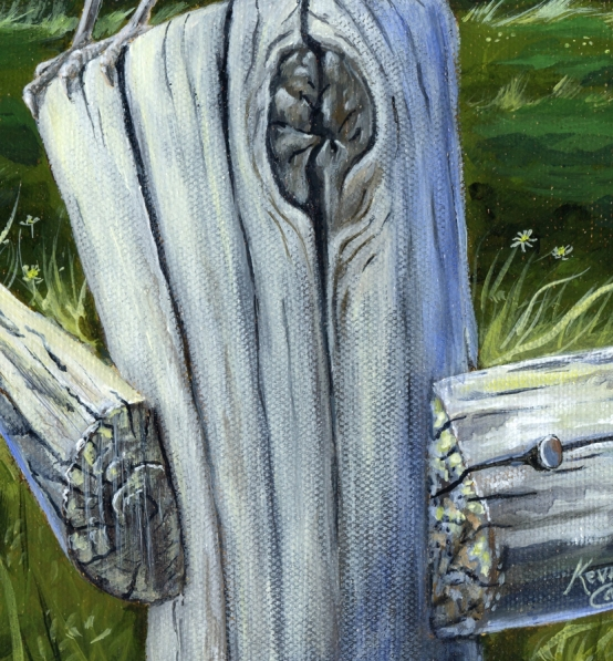Detail of Fence post painted by K. Cameron