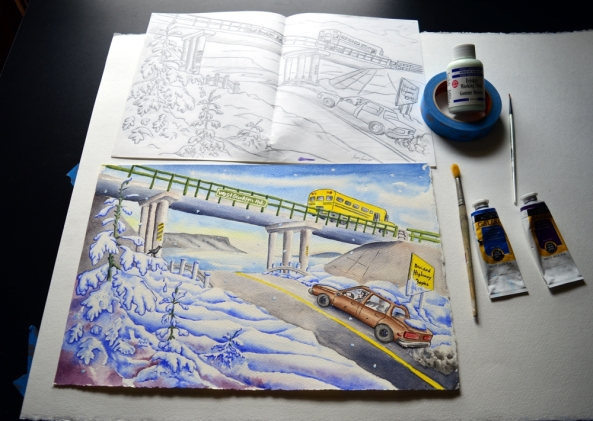 Using acrylic paint washes to create a Children's Book